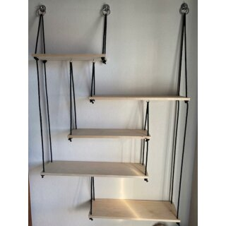 Biorausch - DIY Regal - 5 Böden (Erle handgehobelt) inkl Seilen und Schrauben ( mit Bauanleitung) Höhe 160 cm Breite 107cm