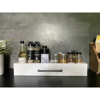 UNPERFEKT PERFEKT - Holz- Küchenaufbewahrung weiß Schublade