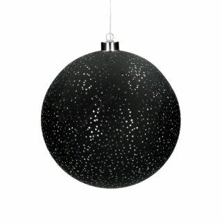 Pomax - NORI - Licht-Kugel schwarz, Glas (LED/batteriebetrieben) mit Lichterkette (D=20cm)