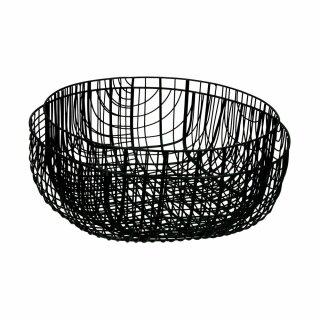 Pomax - PATRONA - Metall-Schale Obst-Schüssel (2tlg Set, schwarz, D28.5/33xH13/11cm)