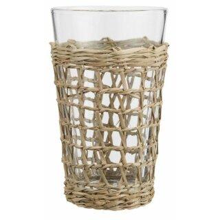 IB Laursen - Trinkglas mit Strohgeflecht (H=15cm)