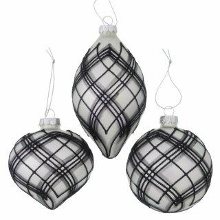 "Biorausch - Weihnachtskugel ""Ryle"" (3 Stück, 3fach Sortiert, Glas, D=8cm)"