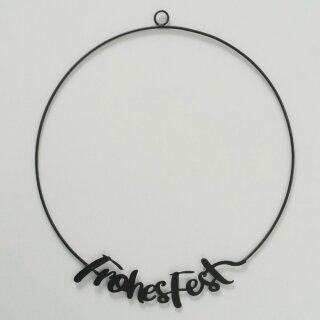 """Biorausch - Dekoanhänger """"Brasko"""" Frohes Fest (eisen, schwarz, 1cmx42cm, 1 Stk)"""