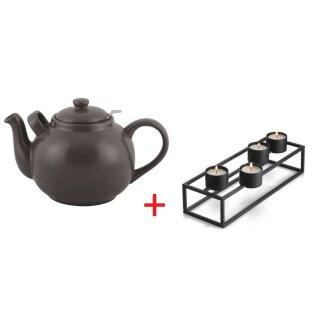 Biorausch - Teekanne PLINT 2500 ml schwarz mit Stövchen
