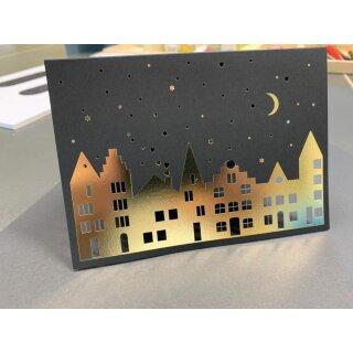 """UNPERFEKT PERFEKT - Klappkarte """"Stadt bei Nacht"""" Grußkarte Weihnachten, schwarz / gold, lasergraviert, mit Umschlag - Handgemacht - Die ganz besondere Weihnachtskarte"""