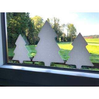 UNPERFEKT PERFEKT - Fensterbild Aufkleber 3 Tannen - Weiss - Winterlandschaft